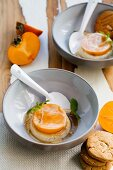Coconut and persimmon flan with caramel sauce