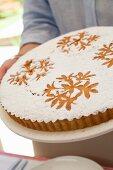 Hazelnut cake with icing sugar