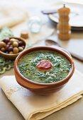 Caldo verde (potato and green kale soup, Portugal) with chorizo