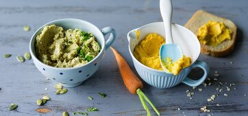 ADHD food: chickpea spread and carrot cream