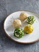 Various cream cheese balls as spreads