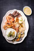 Seafood and rump steak with rice