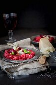 Beetroot risotto with pancetta