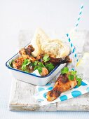 Chicken legs with a honey marinade for a picnic