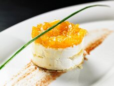 A goat's cheese tartlet with mango chutney