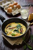 Frittata with dried tomatoes and spinach