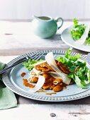 Mushroom lasagne with a mixed leaf salad