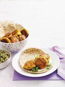 Carrot and chickpea falafels with unleavened bread