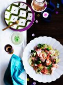 Cucumber and watermelon salad with fish fillet