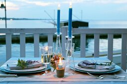 A table laid outside at dusk