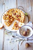 Apple tart with figs, chestnut cream and crumbles