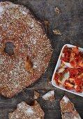 Homemade crispbread with mackerel and tomatoes