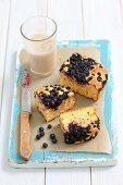 blueberry cake and a glass of milk
