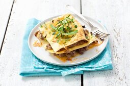 Lasagne with pork ragout on a plate