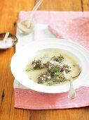 Greek-style meatball soup