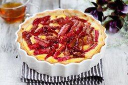 Rhubarb tart in a baking dish