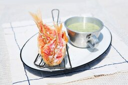 Antipasto di triglie (red mullet with a herb dip, Italy)