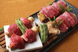 Raw wagyu beef on bamboo (Japan)