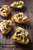 Crostini ai funghi (grilled bread topped with porcini mushrooms, Italy)