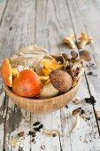 An autumnal arrangement of mushrooms