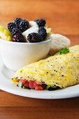 Omelette with tomatoes, kale, onions and mozzarella served with a blackberry and apple salad