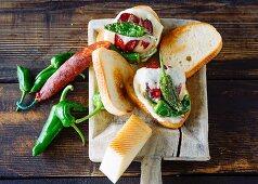 Spanish burger: sandwich with chorizo, chilli and cheese
