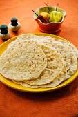 Mexican tortillas and chilli peppers