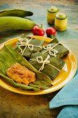 Pasteles (spicy, stuffed banana leaves, Puerto Rico)