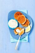 Salmon cakes with a dip