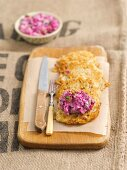 Potato cake with beetroot and herring salad