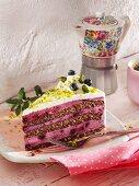Yogurt and blueberry cake