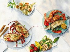 An arrangement of various different grilled fish dishes