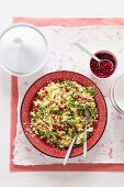 Couscous salad with chickpeas and pomegranate seeds