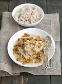 Pork loin in a creamy mushroom sauce with chanterelle mushrooms