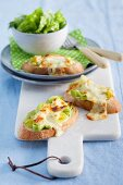 French leek toast topped with melted Gruyere