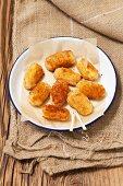 A plate of potato croquettes