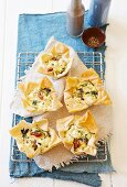 Spinach, feta and sundried tomato quiches