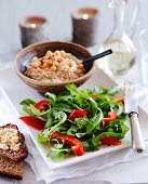 Hummus and mint salad with peppers