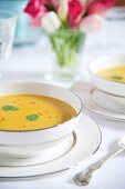 Pumpkin soup with chilli and coriander