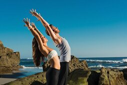 Yoga in the sunshine on the beach
