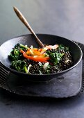 Beluga lentils with spinach