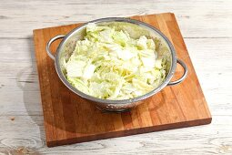 Salted Chinese cabbage in a colander