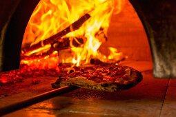 Fresh Mozzarella Pizza in a Wood Burning Oven