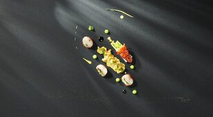 Potato Thai curry with fried lobster, coriander tapenade and matcha tea cream (flavour pairing)