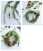 A wreath of holly and larch sprigs being made