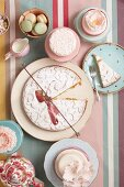 Vintage-style teatime; cakes on platter and on plates