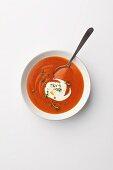 Creamy tomato soup with a dollop of créme fraiche