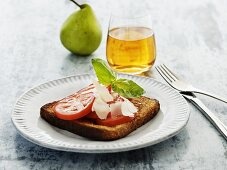 French toast with tomatoes, Parmesan and basil