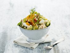 Indian egg salad with cauliflower, chili and limes