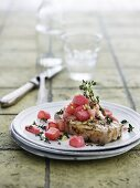 Grilled chops with thyme, ginger and braised rhubarb